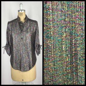 Vintage Rainbow Metallic Blouse 3/4 Tie Up Sleeves