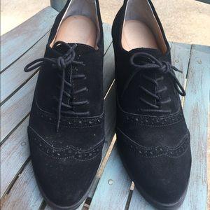 Women's Ellen Tracy Black Wedge Saddle Shoes 9.5M
