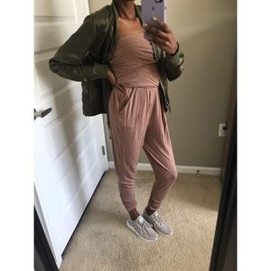 • Brown Strapless Jumpsuit •