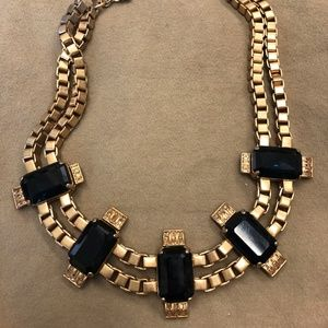 J. Crew Navy and Gold Bib Necklace