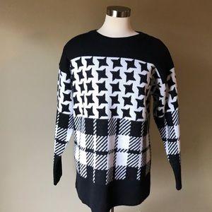 Vintage Black White Plaid Houndstooth Sweater