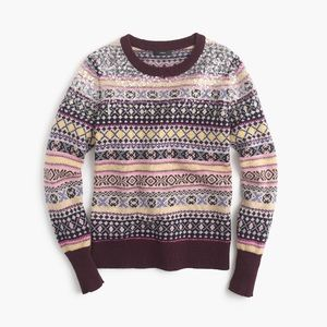 J. Crew Sequined Fair Isle sweater