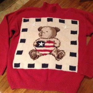 Vintage patriotic bear sweater