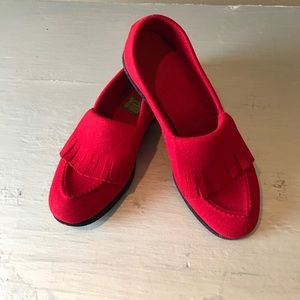 Vintage Felt Moccasin Red Slippers House Shoes