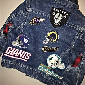 Jackets & Blazers - Custom made Kids Denim patch football jacket