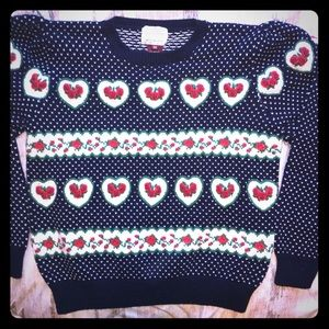 Vintage Susan Bristol hearts and roses sweater