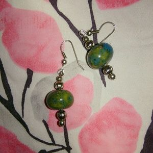 Vintage Green Turquoise & Silver Earrings