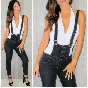 Black Denim Overalls Faded Skinny Jeans Size XS