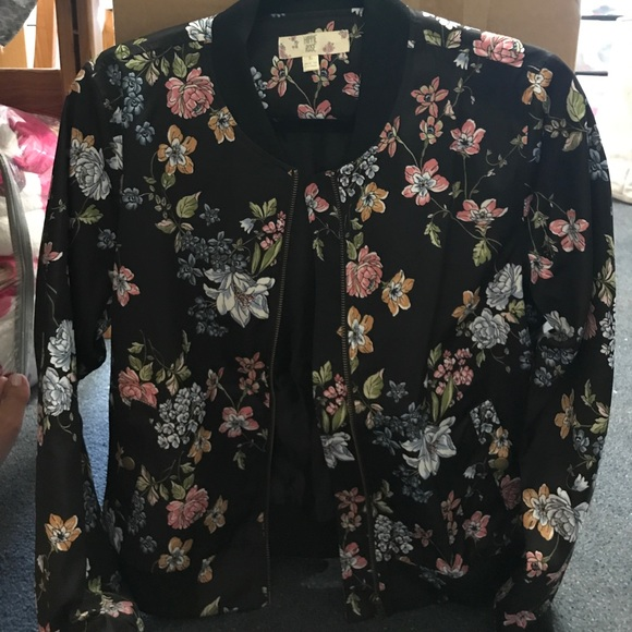 e2b277d805ca7 Hippie Rose Jackets & Coats | Black Floral Print Bomber Jacket ...