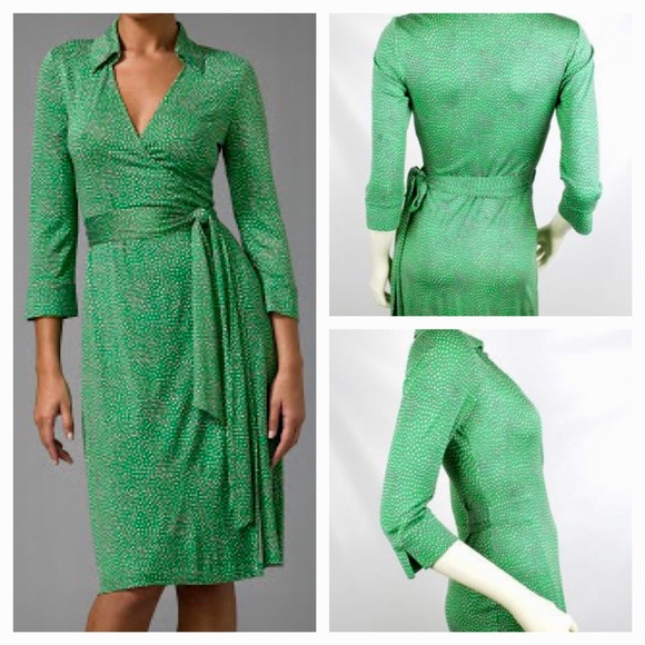 af74a8e3fdd Diane Von Furstenberg Dresses   Skirts - Diane Von Furstenberg Green White  Heart Wrap Dress