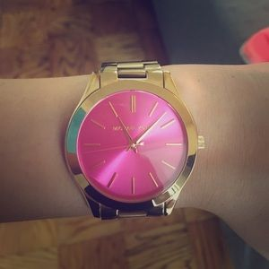 AUTHENTIC Michael Kors pink face watch