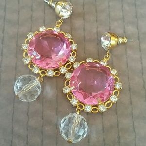 Vintage pink crystal and rhinestone earrings