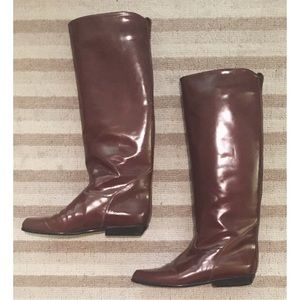Charles David Knee High Brown Leather Boots 6.5