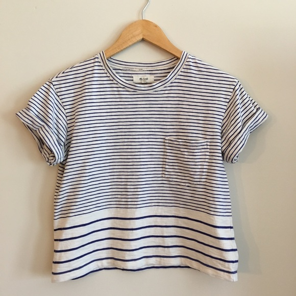 a3bdbc9b Madewell Tops | Striped Pocket Tee | Poshmark
