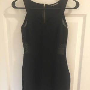 Black dress with mesh detailing