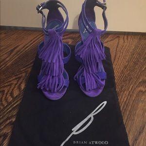 Brian Atwood Purple Suede Fringe heel