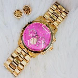 Michael Kors Watch & Earring Set - Pink/Rose Gold