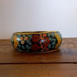 Vintage Hand Painted Brass Bangle Bracelet