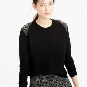 J. Crew wool jewel zip back sweater