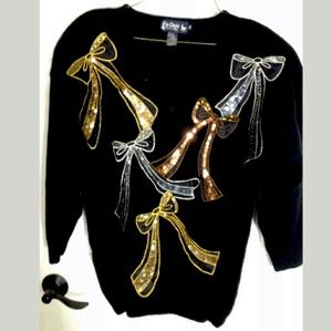 Vintage Le Chois Sequin Sweater Black MED