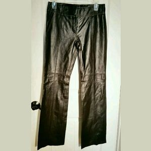 Express Genuine Black Leather Pants S 3/4