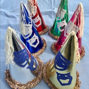 Six Vintage Comedy and Tragedy Glitter Party Hats