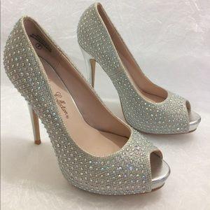 "Crystal embellished 5"" Cinderella heels Sz 7"