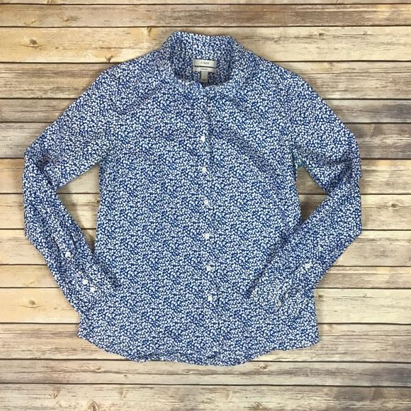 J. Crew Tops - J. Crew Women s Blue Floral Perfect Fit Workshirt 2fd257e223