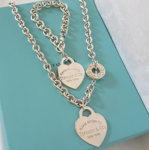 6b4da4d08d56 Tiffany  Co XL Heart Tag Toggle Necklace Bracelet.  M 59caac8bf739bc0f5e0ce2f9