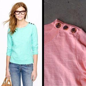 J. Crew Tortoise Button Sweatshirt in Pink
