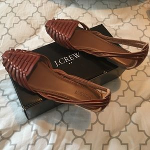 NIB J.Crew brown leather huarache sandals