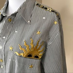 Vintage 90's Moon and Stars Striped Button Shirt