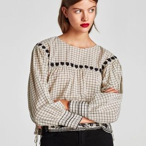 Zara Checked Top With Embroidery