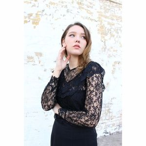 BLACK LACE Sheer Illusion blouse vintage  small