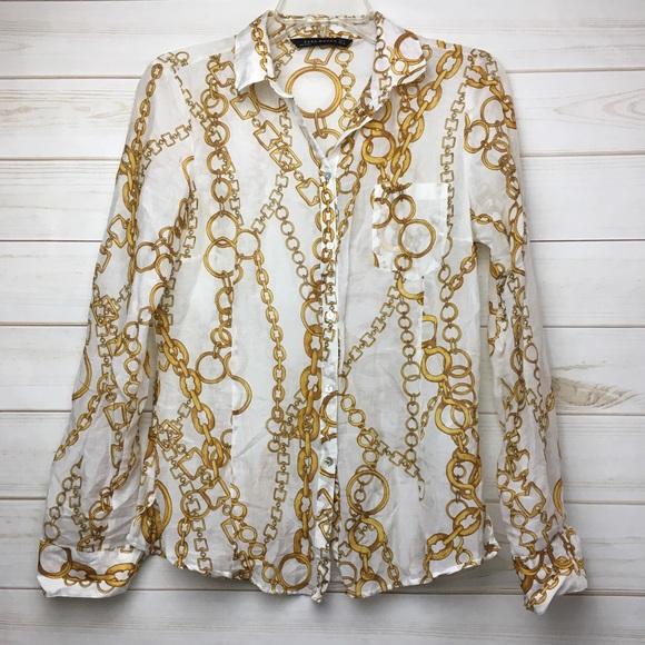 3de6f9d83fca72 Zara woman gold chain design Button Down Blouse. M_59cab46cc6c79533c00cfcc6