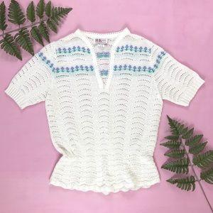 Vintage knit peplum top 70s 80s see through shirt