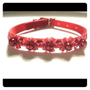 Christmas festive dog collar with bells red