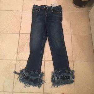Zara ruffle bottom jeans.