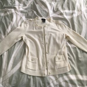 Sweaters - Off white/cream cardigan with pearl/crystal button
