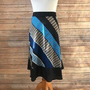 NWT Ann Taylor A-Line Striped Geometric blue Skirt