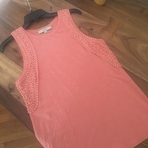 Coral loft tank! Only worn once. With lace detail.