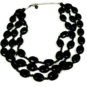 Vintage triple strand necklace of black beads