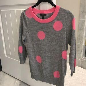 JCrew Pink & Grey Polka Dot Sweater Size Small