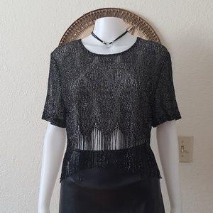 Crocheted fringe top