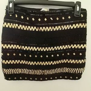 Black and gold embroidered skirt