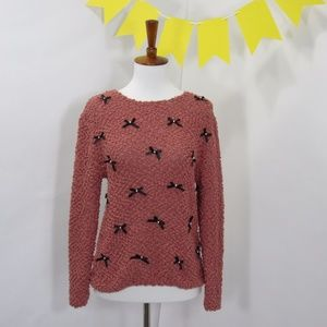 LC Lauren Conrad Blush Bow Pearl Knit Sweater *MM1