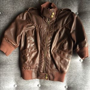 Maralyn & Me Faux Leather Distressed Moto Jacket