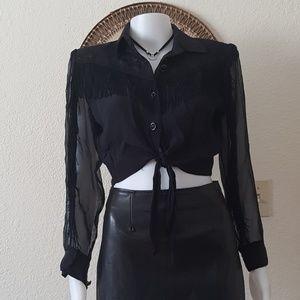 Tie front fringe blouse