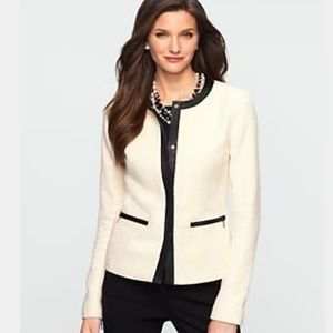 [ talbots ] texture tweed faux leather trim jacket