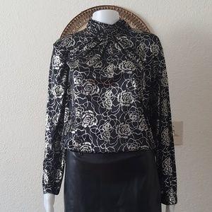 Silky mock neck blouse
